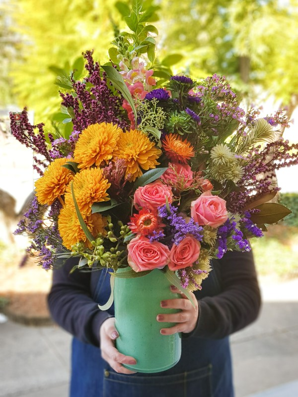 Over the top bright flower vase Posy & Twine Florist