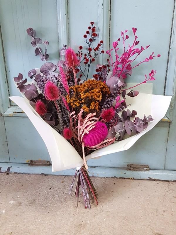 Pink dried flowers Posy & Twine