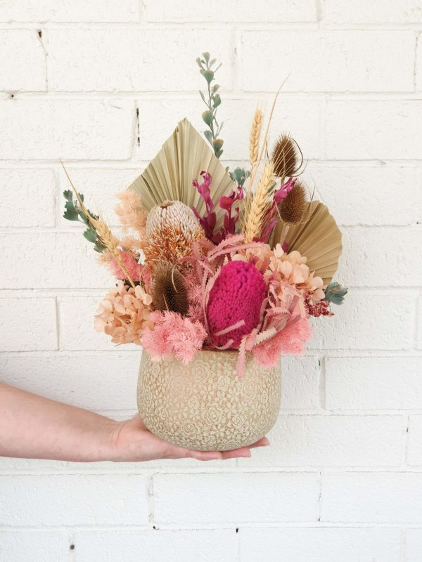 Modern dried flower arrangement