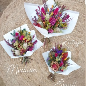 modern dried flower bouquets small medium and large sizes