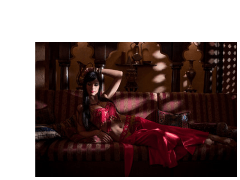 eastern themed girl on bed