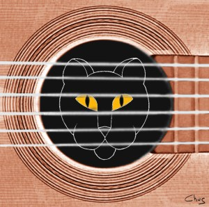 cat in the guitar4 300x298 - Paintings & Drawings