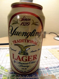 Yuengling Pennsylvania Beer served on a map of Philadelphia