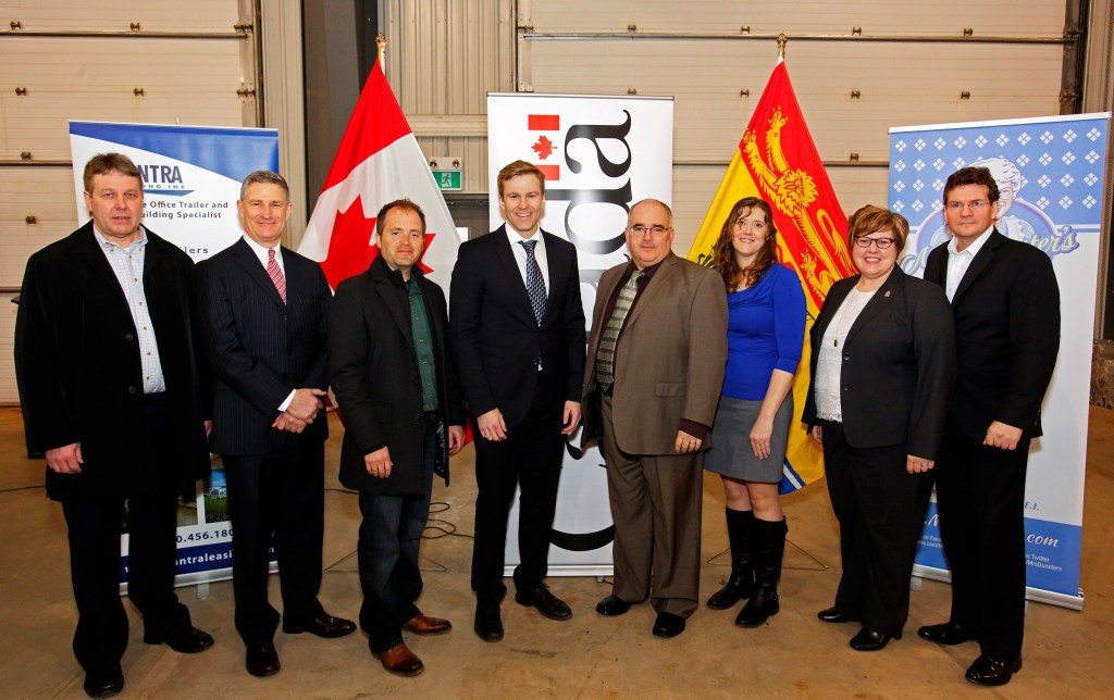 March 15, 2016, Opportunities New Brunswick announcement at Alantra Leasing in Sussex. From left: Marcus deWinter, Stephen Lund, Marc Poirier, Brian Gallant, Blair Hyslop, Rosalyn Hyslop, Alaina Lockhart, Marc Thorne. This image is copyright Jamie Roach (roachj@nb.sympatico.ca; www.jamieroach.net)