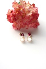 Rhodolite Garnet and Pearl Studs with 18K Rose Gold Plating