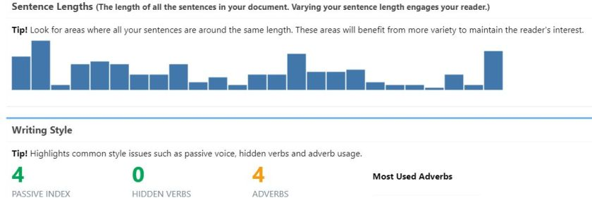 Graphical representation of sentence length and measurement of style