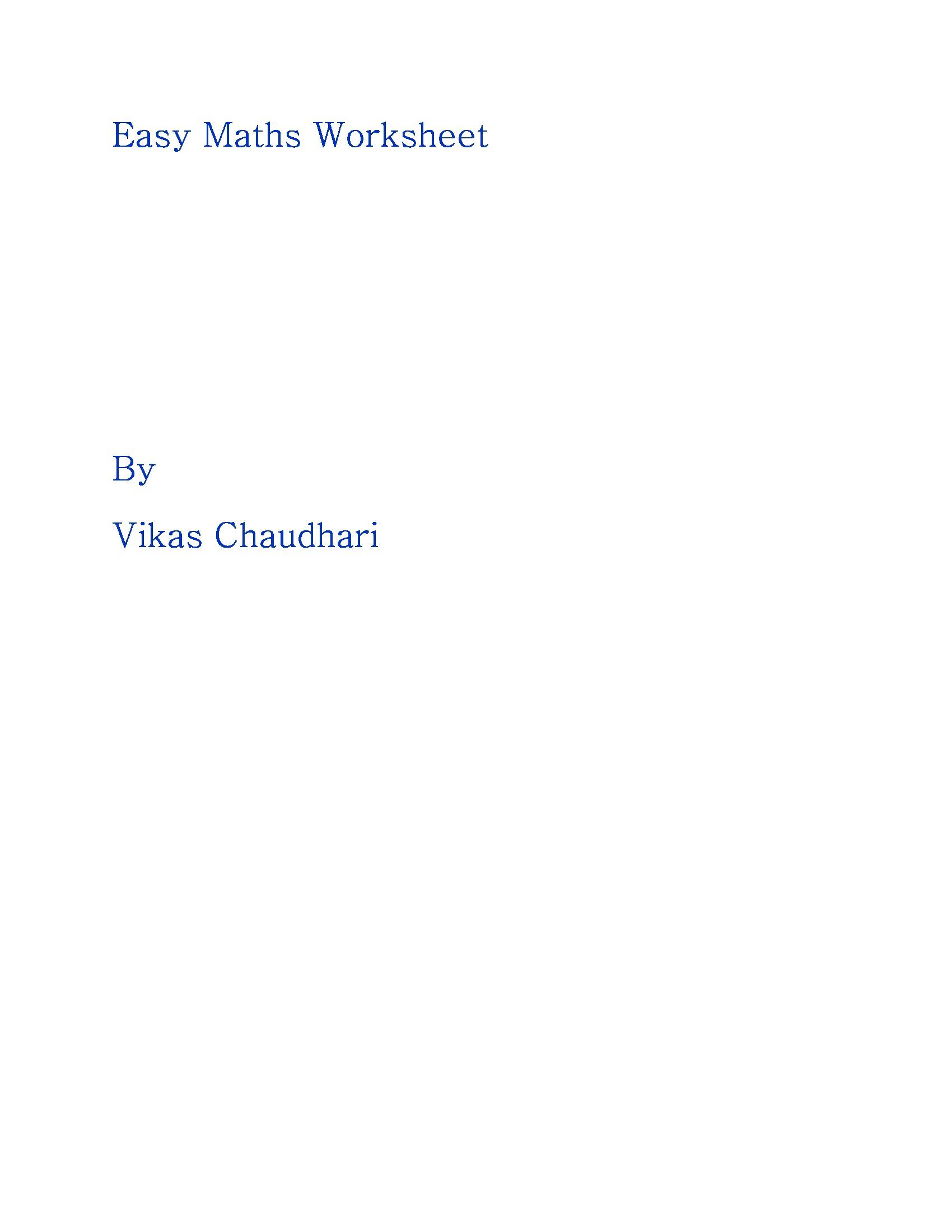 Easy Maths Worksheets Sample1 Ebook Ebook