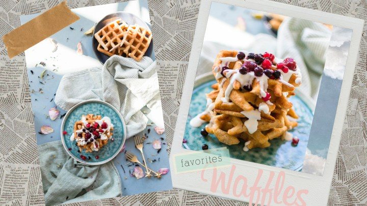 Gaufres à la fraise et coulis de yaourt aux fruits rouges