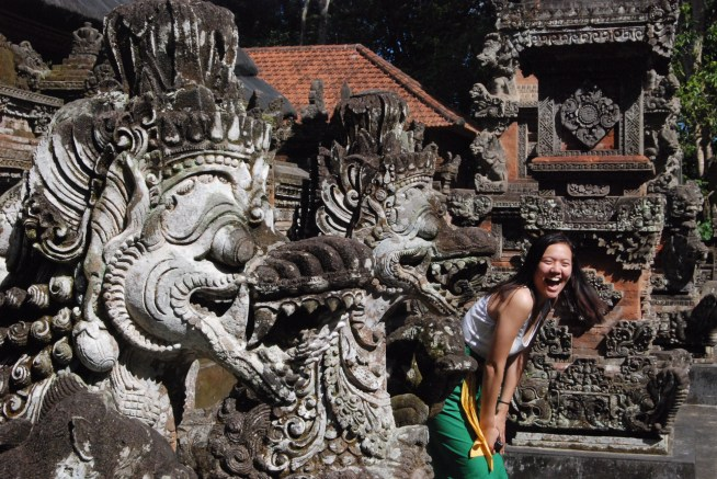 Having fun at another temple in Bali