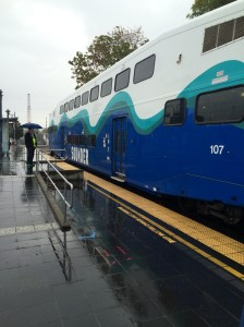 Taking the Sounder from Tacoma to Seattle. Our first rainy day here!