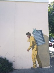 Street art in Palo Alto. Reminds me of Banksy's work