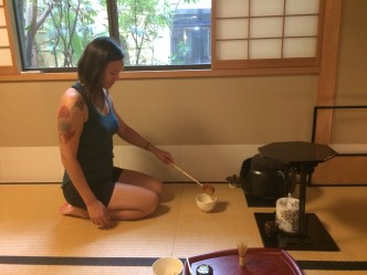 Making matcha tea for tea ceremony