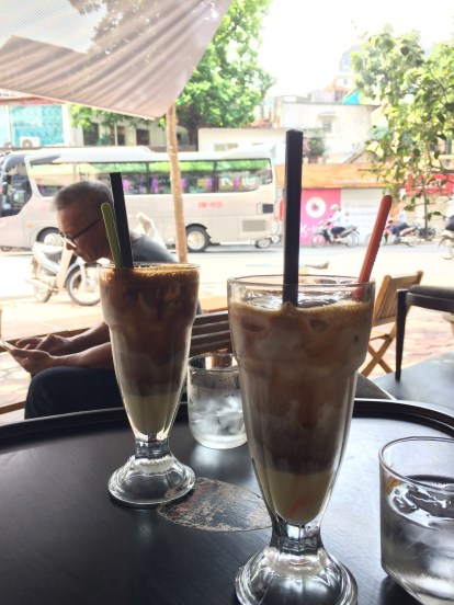 Bac siu, coffee with coconut milk (and a secret third ingredient: condensed milk. They seem to add it to all coffee drinks) Like sipping on a chocolate ice cream, it's still pretty refreshing after a long morning of walking around.