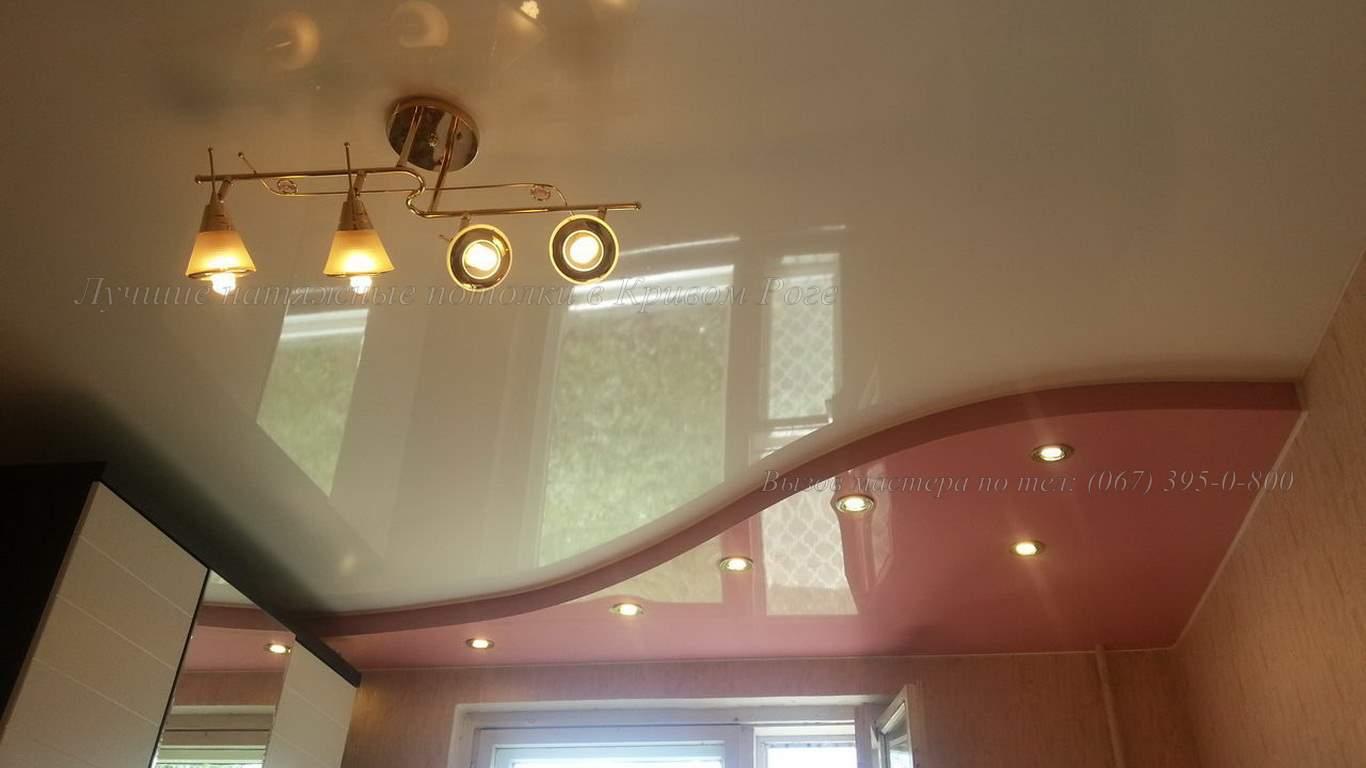 двухуровневый классический натяжной потолок кривой рог