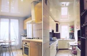 Натяжной потолок для кухни примеры