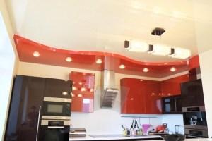 многоуровневые натяжные потолки для кухни