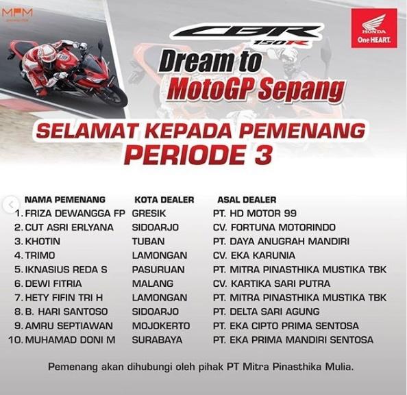 Nama Pemenang Dream to MotoGP Sepang 2019 - 2