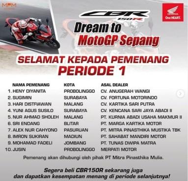 Nama Pemenang Dream to MotoGP Sepang 2019
