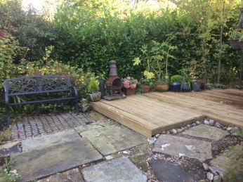 decked area at Pots and Pans Holiday Cottage, Uppermill, Saddleworth