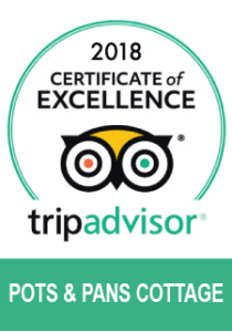 Trip Advisor certificate of excellence 2018 Pots and Pans Holiday Cottage, Uppermill, Saddleworth