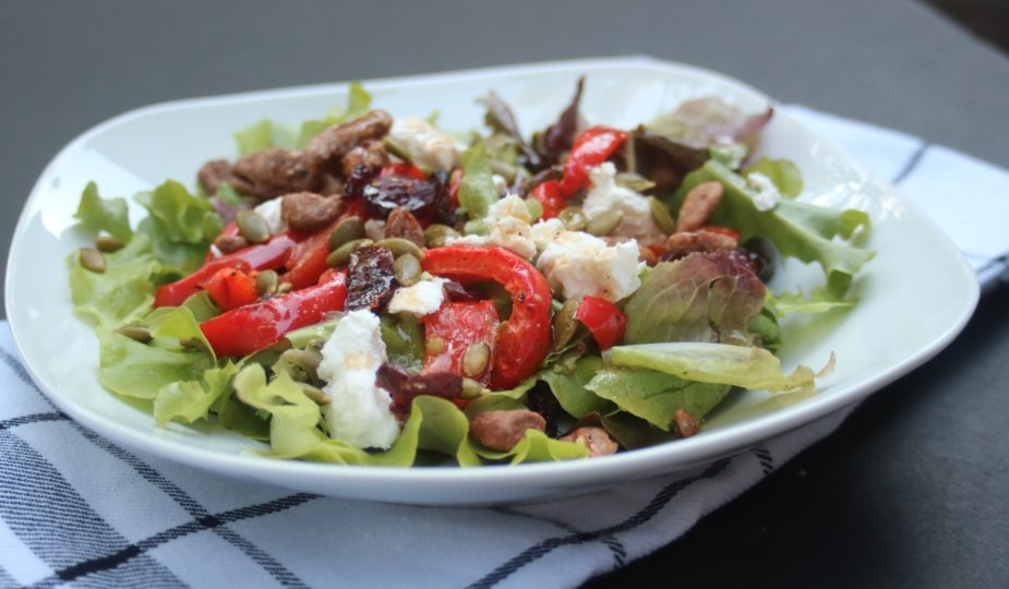 Spring Mix Salad with Roasted Red Peppers + Goat Cheese + Nuts potsandplanes.com