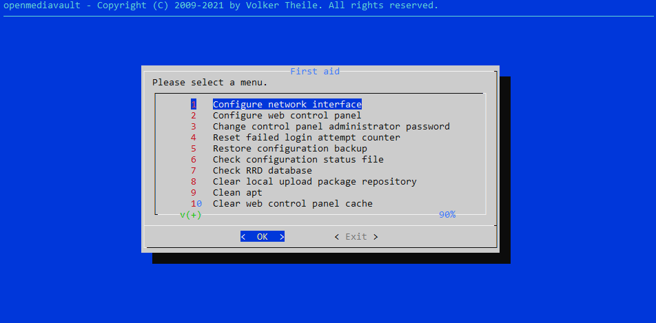 """screenshot of omv-firstaid. You want to select 3, """"Change control panel administrator password"""""""