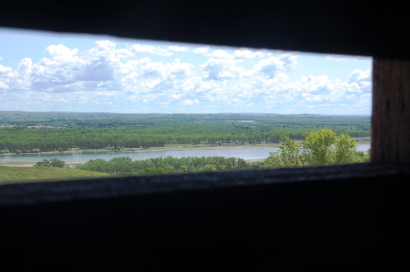 View of the Missouri River from inside the blockhouse. (Click photo to enlarge.)