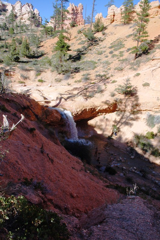 The waterfall near Mossy Cave (click photo to enlarge--notice people below it.)