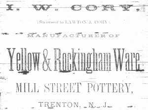 I. W. Cory, Mill Street Pottery Advertisement