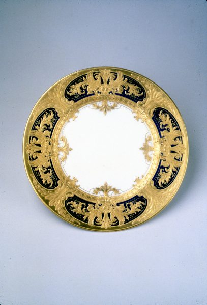 Lenox China service plate, Frank Holmes designer, Robert Pfahl pastework, for Fifth American Industrial Art Exhibition at Metropolitan Museum of Art, 1920