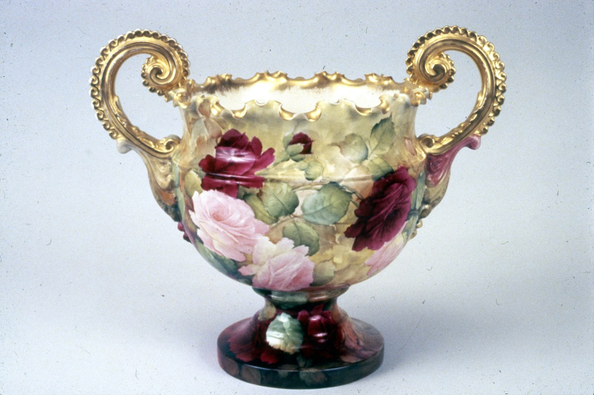 Willets Mfg Co Vase painted by J.T. Baines, Samuel Sheratt's Studio, Trenton