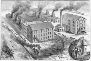 hand drawing of factory buildings