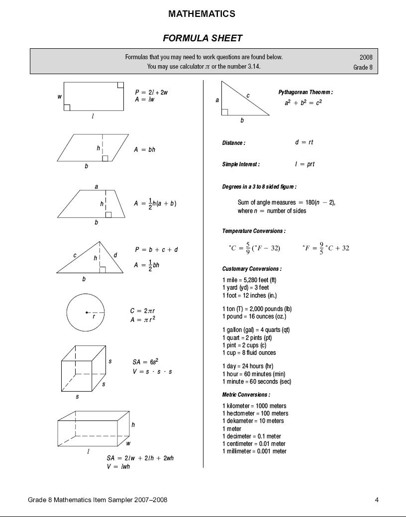 """hight resolution of Search Results for """"8th Grade Staar Formula Chart"""" – Calendar 2015"""
