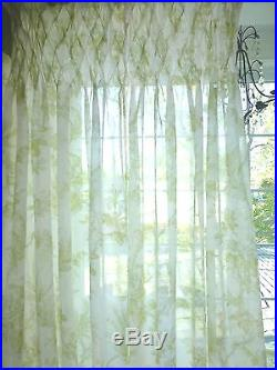 Set Of 2 POTTERY BARN SMOCKED Floral Sage White SEMISHEER Curtain Panels  Pottery Barn Curtains