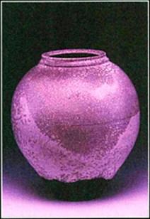 raku vessel - white crackle glaze