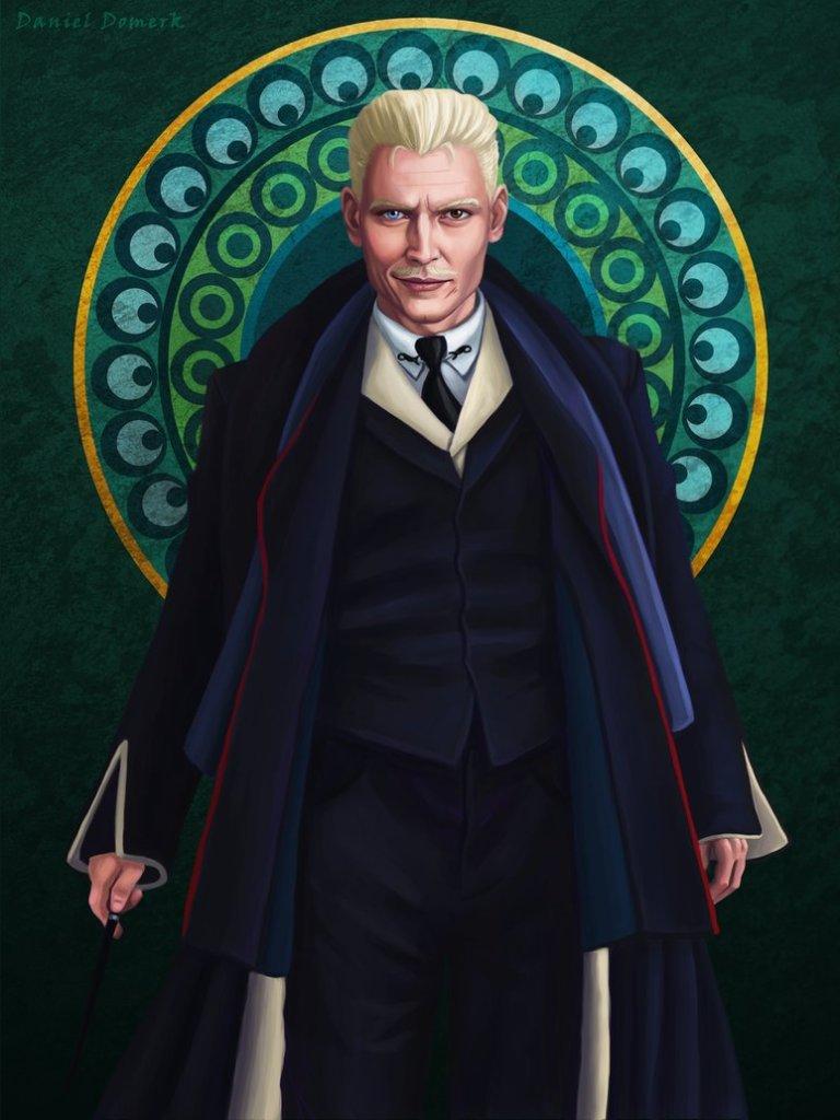 Kresba postavy Gellerta Grindelwalda.