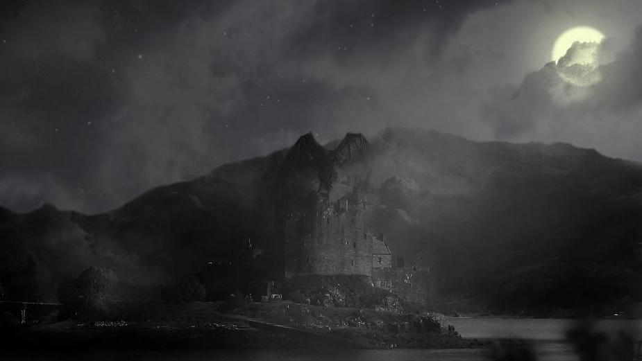 Ilustrace představy vězení Nurmengard kdesi v horách za svitu měsíce.