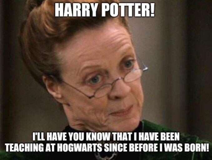 Meme s obličejem starší prof. McGonagallovou s textem, který je uvedený pod obrázkem.