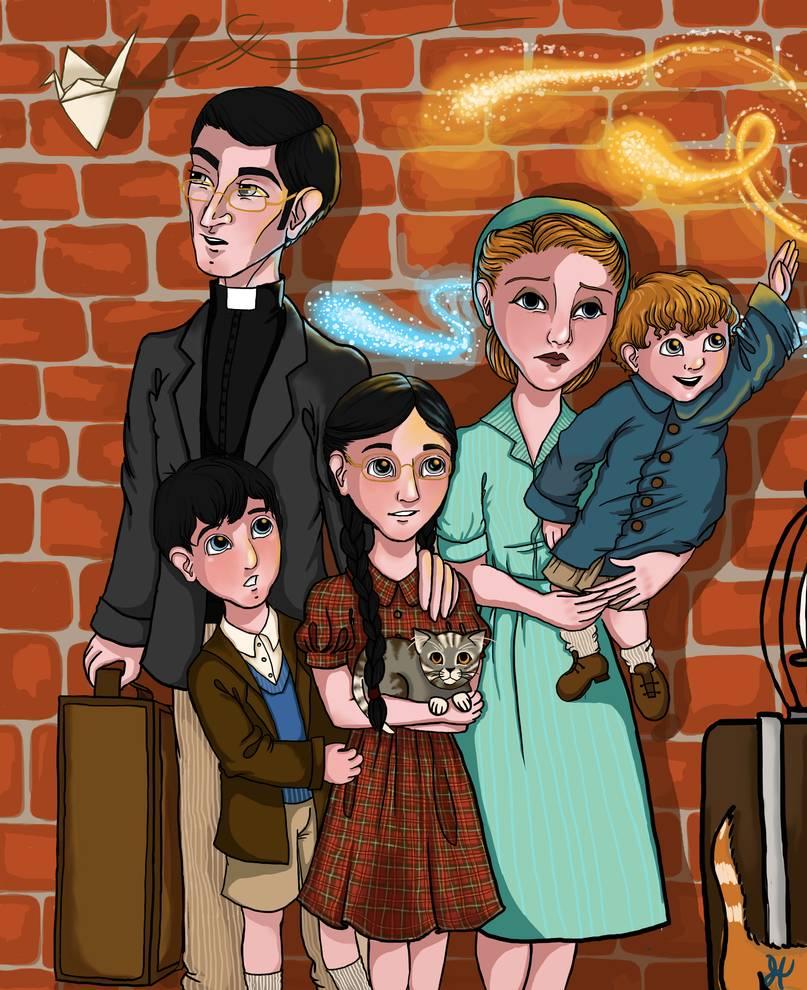 Kresba, která zachycuje zleva Isobel držící malého Roberta, vedle ní mladá copatá Minerva s šedou kočičkou v náručí a na jejím levém rameni spočívá ruka jejího otce. Minervu zleva drží její bratr Malcolm.