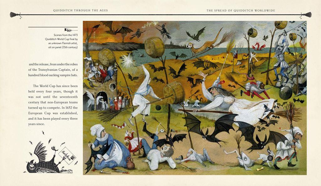 Kresba chaotické hry středověkého famfrpálu. Nejvýraznější je čarodějnice v bílých šatech a bílým špičatým kloboukem letící na koštěti. Další hráč v bílém je v pozadí. Na obrázku je mnoho netopýrů i dalších lidí (pravděpodobně i mudlů).