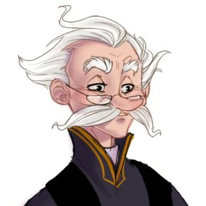 Fanart hlavy profesora Kratiknota ve starším věku.