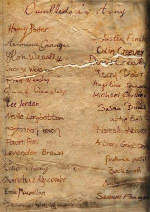 Pergamen s podpisy členů Brumbálovy armády.