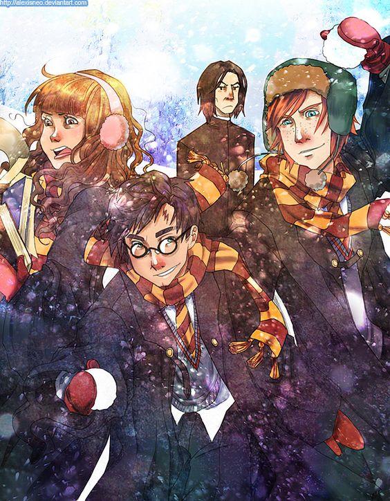 Fanart na němž je nám známý trojlístek. Harry uprostřed s Ronem po jeho levici jsou v zimní uniformě venku a hází na sebe sněhové koule. Hermiona, která je po Harryho pravici se pronáší pod tíhou knih, které nese. Trojici z povzdáli znechuceně sleduje Snape,