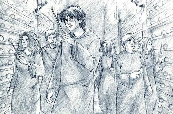 """Fanart z Fénixova řádu, kde """"ministerská šestice"""" prochází síní proroctví na odboru záhad. V popředí uprostřed Harry, za ním po jeho pravici Hermiona s Ronem v těsném závěsu a za Harrym po jeho levici Neville s Lenkou za Nevillem po jeho levici a Ginny za Nevillem po jeho pravici."""