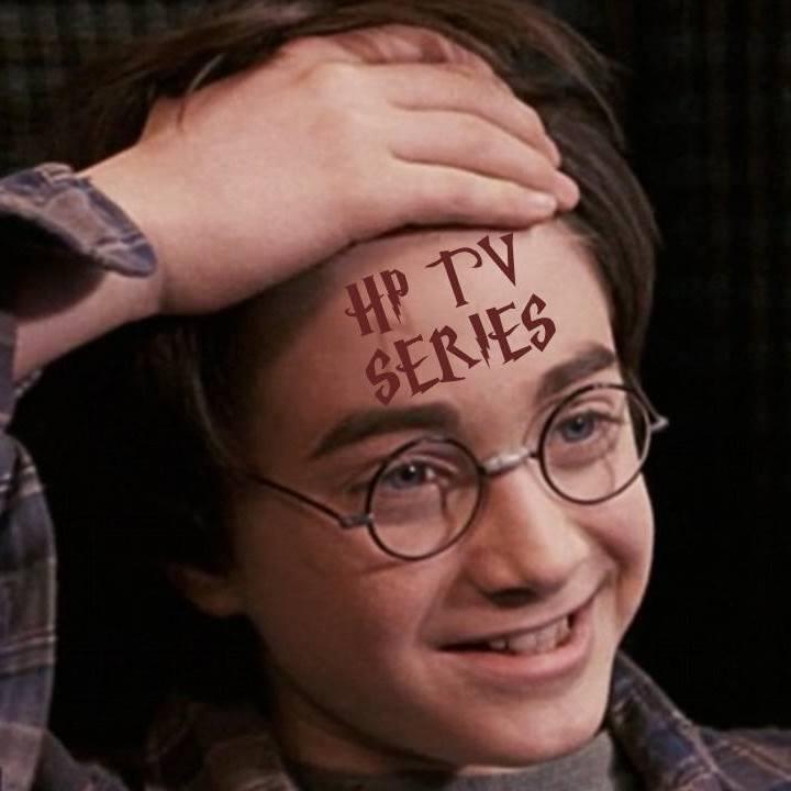 """Fotografie Harryho usměvavého obličeje z Kamene mudrců, kdy ukazuje Ronovi jizvu ve vlaku. Na čele ovšem není jeho jizva, ale v potterovském skriptu nápis """"HP TV SERIES""""."""