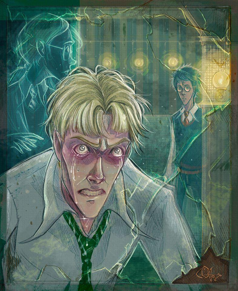 Fanart ke scéně z Prince dvojí krve z Uršuliny koupelny. Největší plochu zabírá zarudlá tvář plačícího Draca v bílé košili a zeleno-bílou kravatou. Dívá se na diváka. Napravo od něj a za ním je duch Ufňukané Uršuly, sledující Harryho, který právě vstoupil do koupelny (vpravo na obrázku). Je v nebelvírské uniformě bez hábitu.