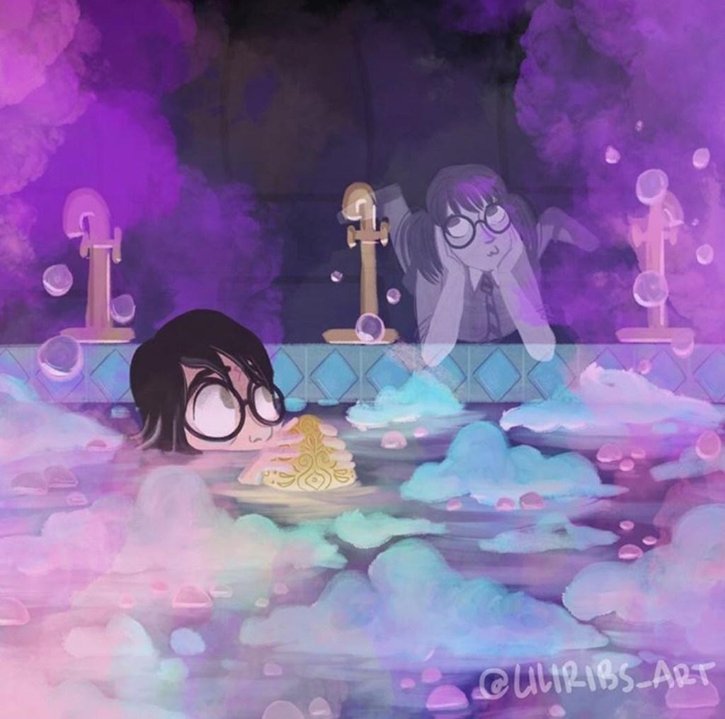 Fanart ke scéně z Ohnivého poháru, kde se Harry koupe se zlatým vejcem v koupelně prefektů a je tam s ním Uršula. Harry je na obrázku po obličej ve vodě (kouká mu pouze polovina obličeje, od nosu vzhůru), ve vodě před sebou drží zlaté vejce a očima hledí na Uršulu, která se válí na břiše nad bazénovou vanou, kope si nohama ve vzduchu a má zamyšlený výraz, kdy si obličej drží v rukou a kouká kamsi stranou nahoru. Na vodě plave pěna a bublinky a ve vzduchu se vznáší obláčky narůžovělé páry a bublinky,