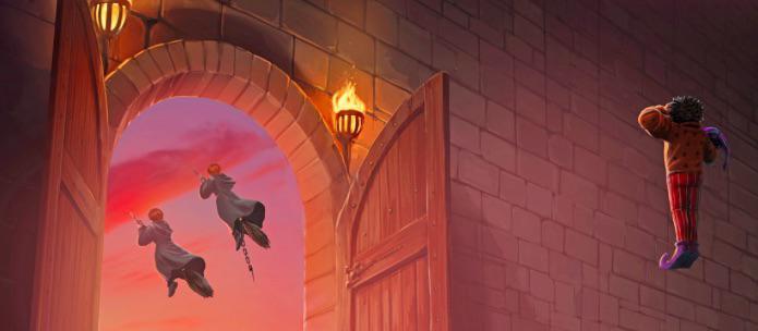 Fanart odletu Weasleyovic dvojčat a salutujícího Protivy. V levé části obrázku vidíme otevřená dvoukřídlá vrata, jimiž prolétli Fred a George na košťatech - z jednoho z nich visí řetěz. Dvojčata vidíme jen zezadu, vlají za nimi hábity V pravé části obrázku se vznáší Protiva, stojí ve vzduchu v pozoru a levou rukou salutuje odlétajícím dvojčatům. Dvojčata odlétají oblečena v hábitech.