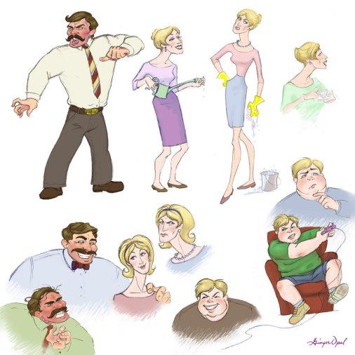 Fanart s Dursleyovou rodinou zobrazující Vernona, Petunii a Dudleyho v různých situacích. Horní polovina zleva doprava: strýc Vernon se kvůli něčemu rozčiluje, je rudý v obličeji. Dále vychrtlá blonďatá Petunie s konví v rukách, Petunie se žlutými rukavicemi na úklid) a Petunie popíjející čaj. Dolní řádek: opět rozzuřený Vernon, dále usmívající se Vernon objímající usmívající se Petunii (vypadají překvapivě mile), zamračená Petunie, šklebící se Dudley, Dudley v křesle hraje konzolovou hru a zamyšlený Dudley.