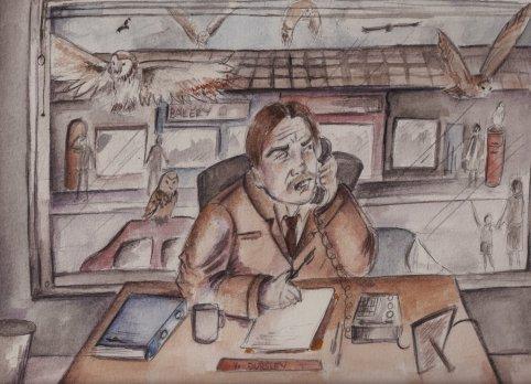 """Fanart strýce Vernona ze scény v první kapitole Kamene mudrců, kdy Vernon sedí za pracovním stolem zády k oknu a """"v klidu"""" pracoval, zatímco za okny létaly sovy a na ulici se procházeli lidé v divném oblečení. Na obrázku Vernon právě telefonuje."""